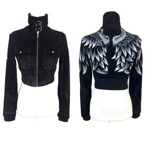 Marciano Cropped Suede Leather Jacket Angel Wings